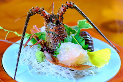 Spiny lobster sashimi